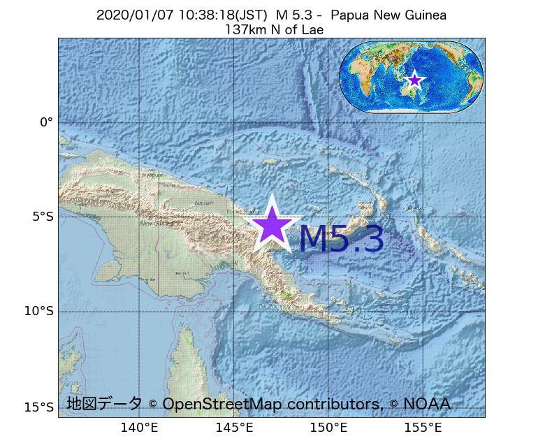 2020年01月07日 10時38分 - パプアニューギニアでM5.3