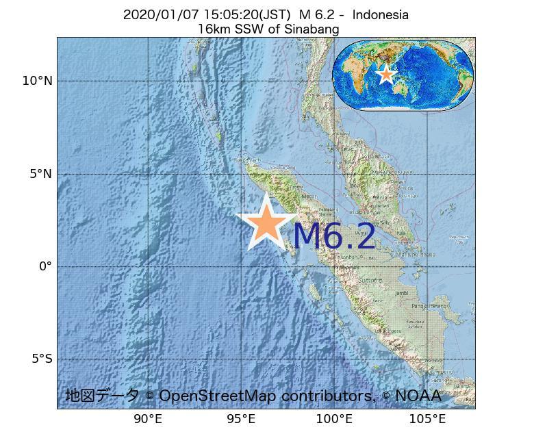 2020年01月07日 15時05分 - インドネシアでM6.2