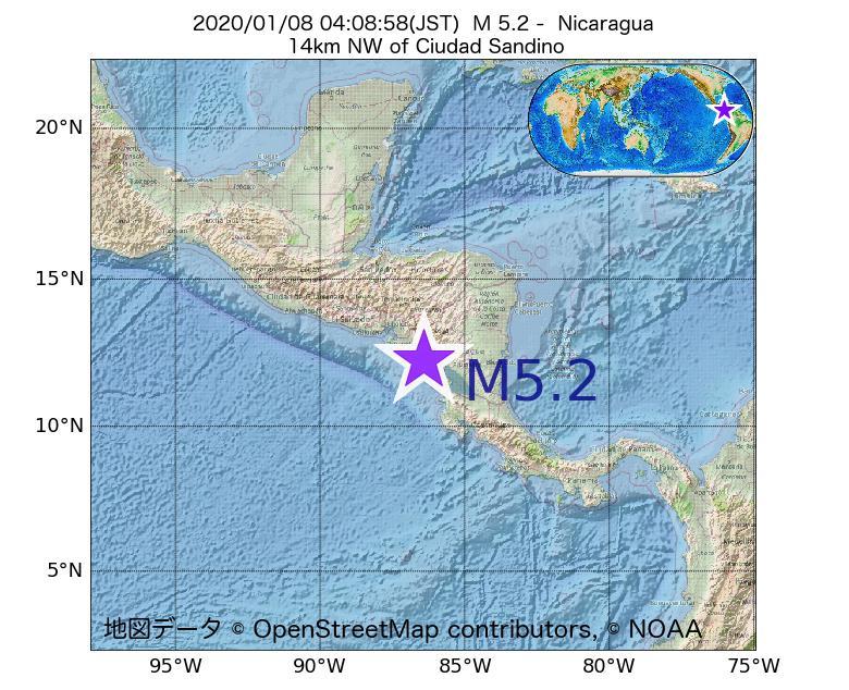 2020年01月08日 04時08分 - ニカラグアでM5.2