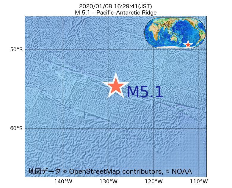 2020年01月08日 16時29分 - 太平洋南極海嶺でM5.1