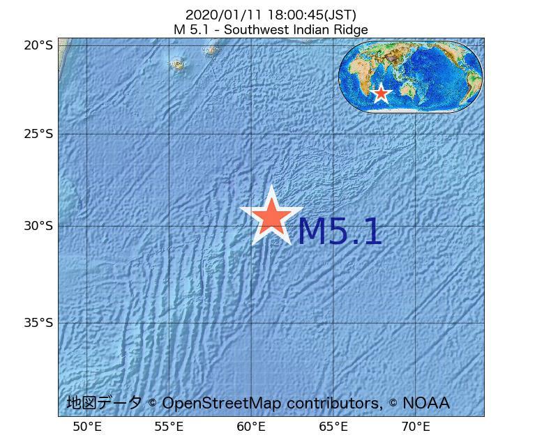 2020年01月11日 18時00分 - 南西インド洋海嶺でM5.1