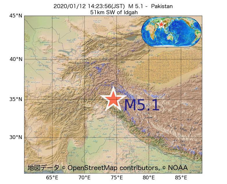 2020年01月12日 14時23分 - パキスタンでM5.1