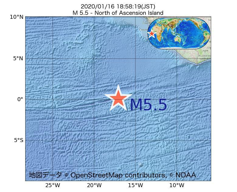 2020年01月16日 18時58分 - アセンション島でM5.5