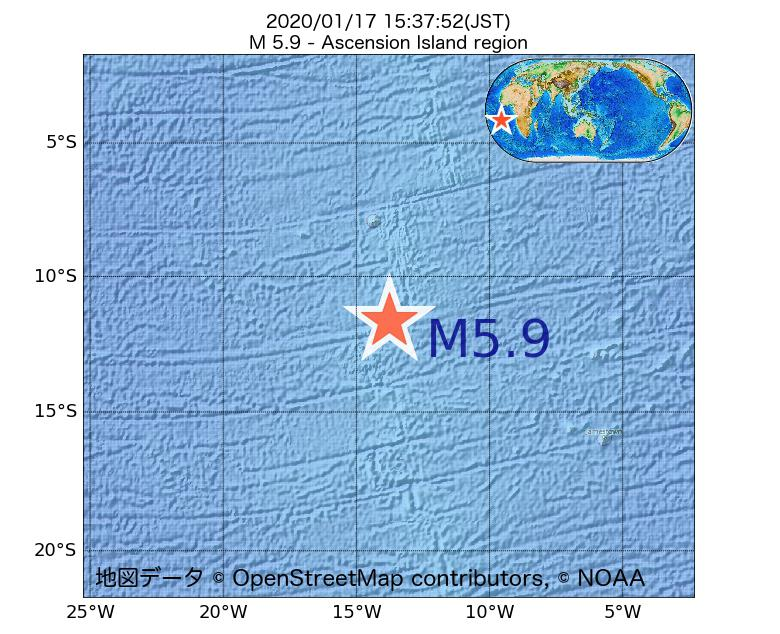 2020年01月17日 15時37分 - アセンション島でM5.9