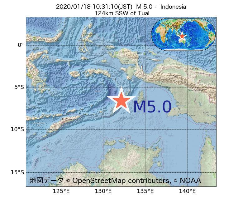 2020年01月18日 10時31分 - インドネシアでM5.0