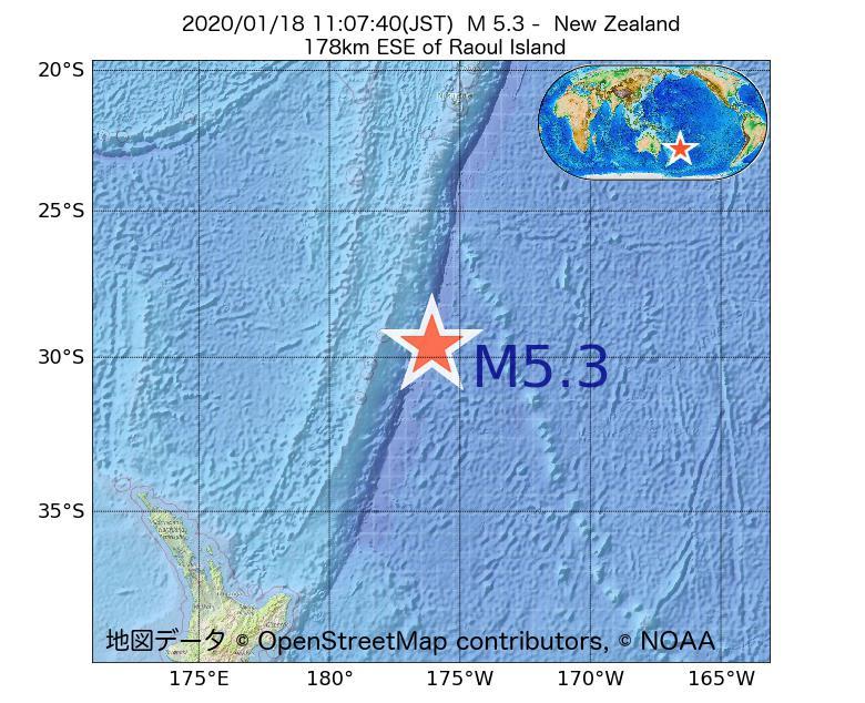 2020年01月18日 11時07分 - ニュージーランドでM5.3