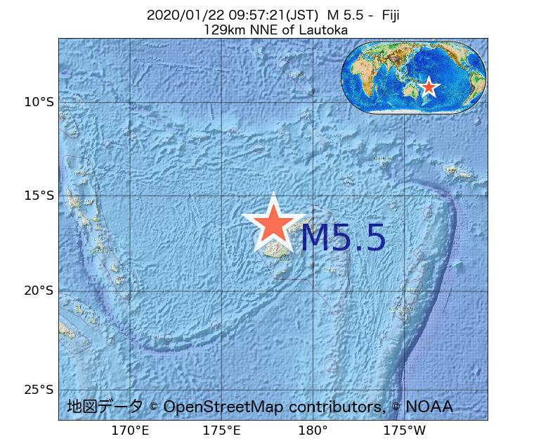 2020年01月22日 09時57分 - フィジーでM5.5