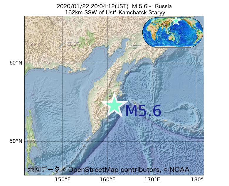 2020年01月22日 20時04分 - ロシアでM5.6