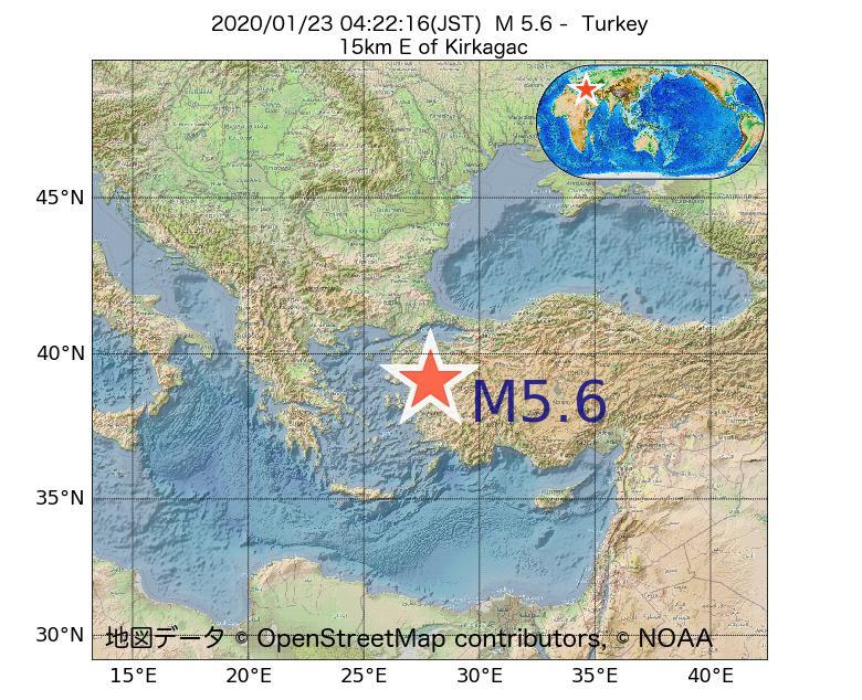 2020年01月23日 04時22分 - トルコでM5.6