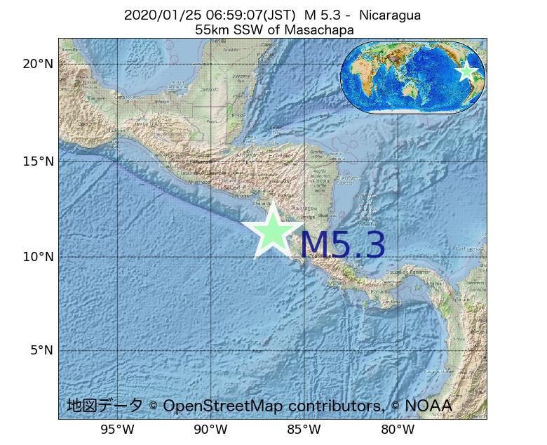 2020年01月25日 06時59分 - ニカラグアでM5.3