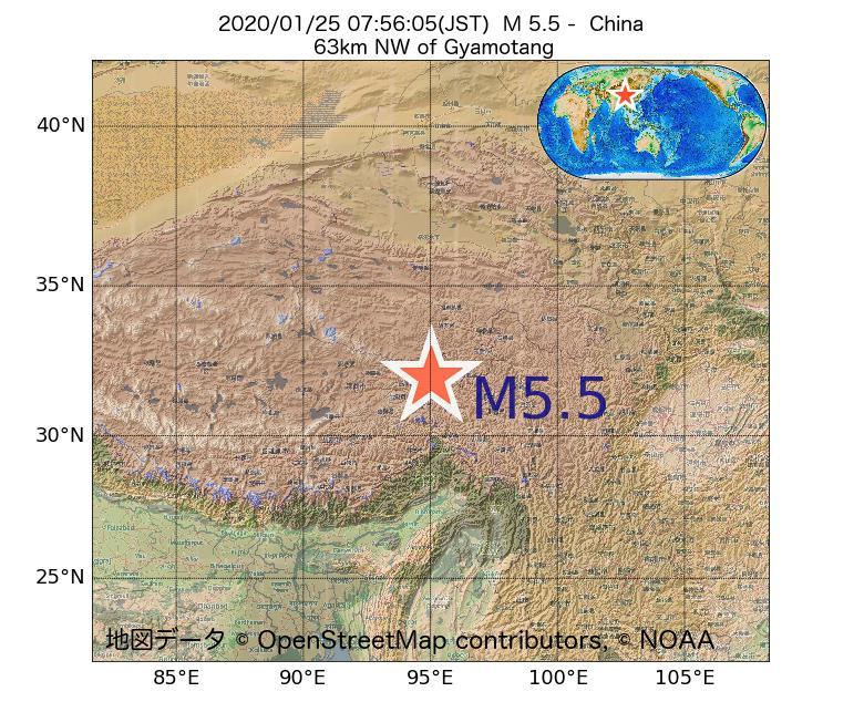 2020年01月25日 07時56分 - 中国でM5.5
