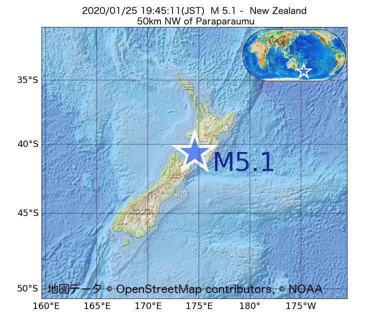 2020年01月25日 19時45分 - ニュージーランドでM5.1