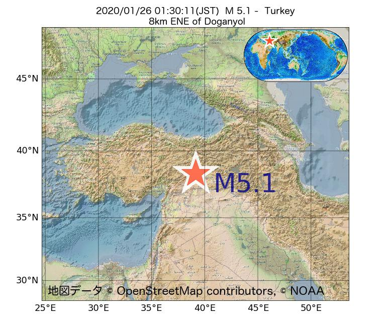 2020年01月26日 01時30分 - トルコでM5.1