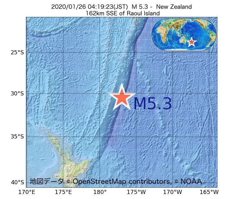 2020年01月26日 04時19分 - ニュージーランドでM5.3