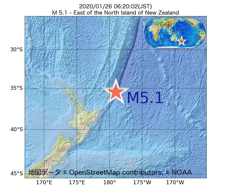 2020年01月26日 06時20分 - ニュージーランド北島の東でM5.1