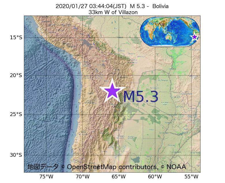 2020年01月27日 03時44分 - ボリビアでM5.3