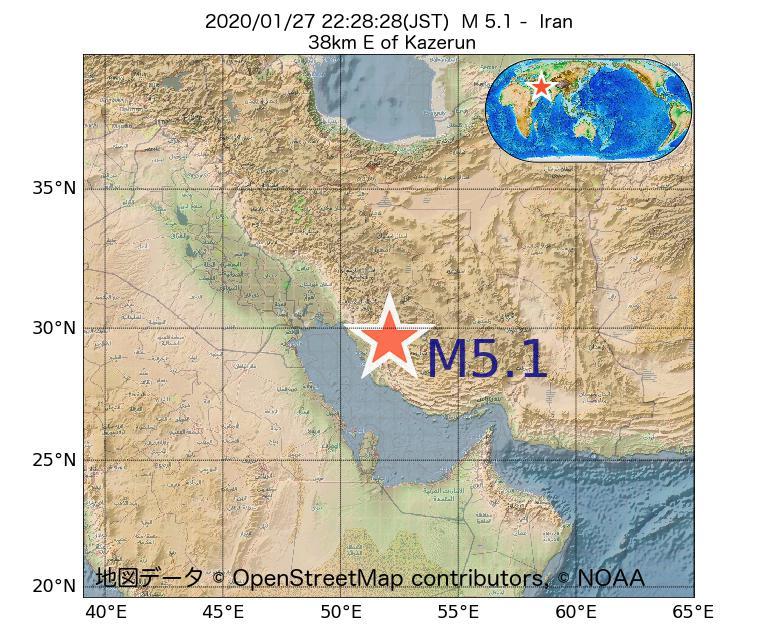 2020年01月27日 22時28分 - イランでM5.1