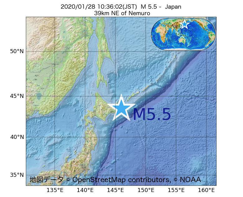 2020年01月28日 10時36分 - 日本でM5.5