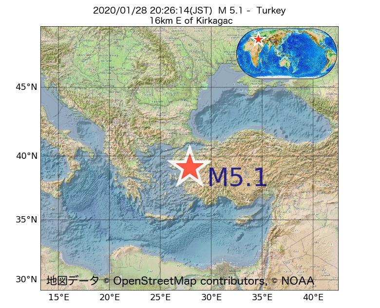 2020年01月28日 20時26分 - トルコでM5.1