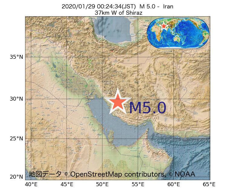 2020年01月29日 00時24分 - イランでM5.0