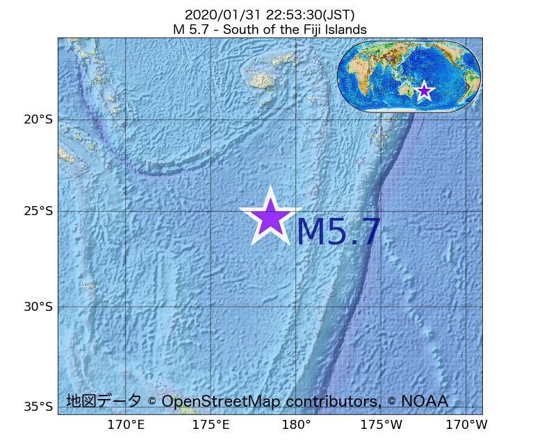 2020年01月31日 22時53分 - フィジー諸島の南でM5.7