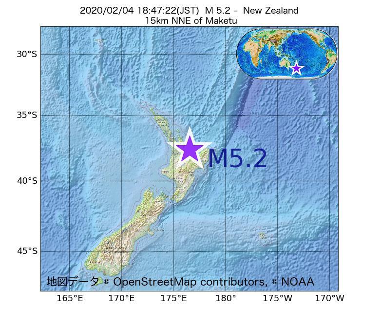 2020年02月04日 18時47分 - ニュージーランドでM5.2