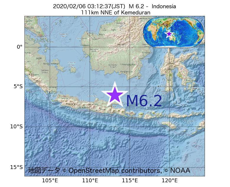 2020年02月06日 03時12分 - インドネシアでM6.2