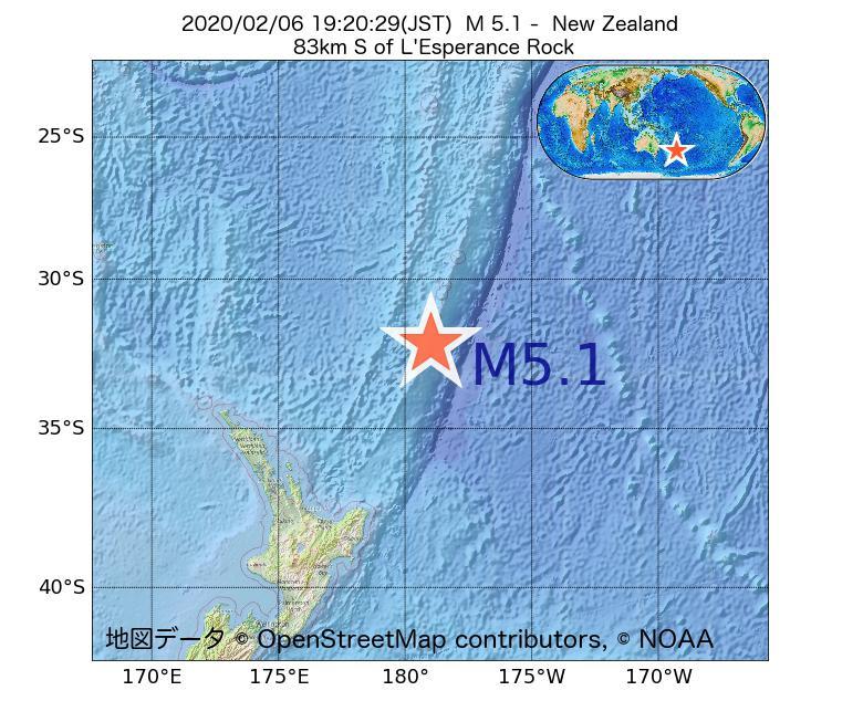 2020年02月06日 19時20分 - ニュージーランドでM5.1