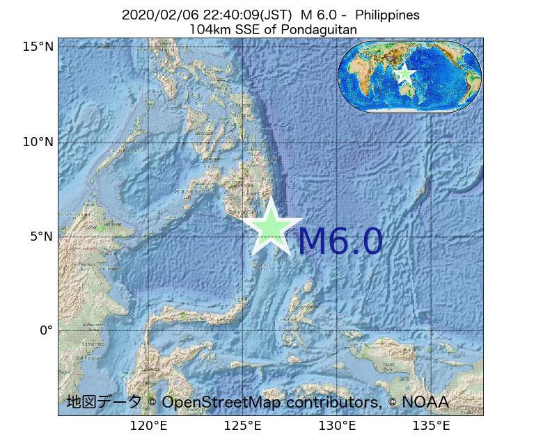 2020年02月06日 22時40分 - フィリピンでM6.0