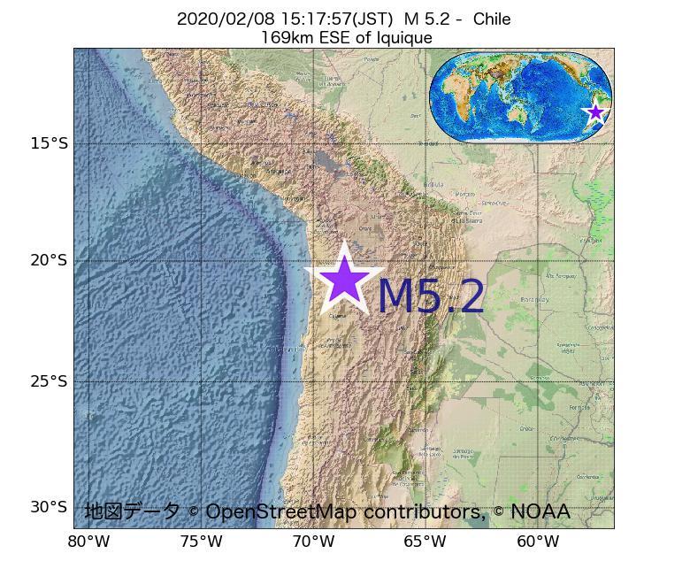 2020年02月08日 15時17分 - チリでM5.2