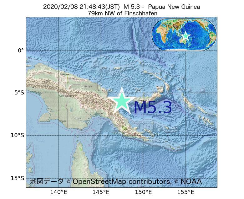 2020年02月08日 21時48分 - パプアニューギニアでM5.3