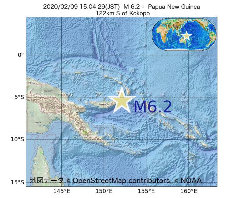2020年02月09日 15時04分 - パプアニューギニアでM6.2