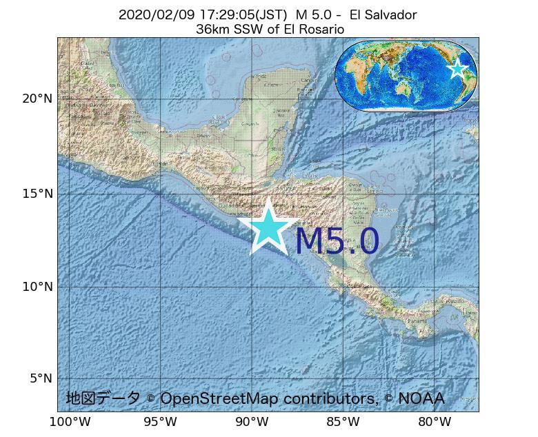 2020年02月09日 17時29分 - エルサルバドルでM5.0