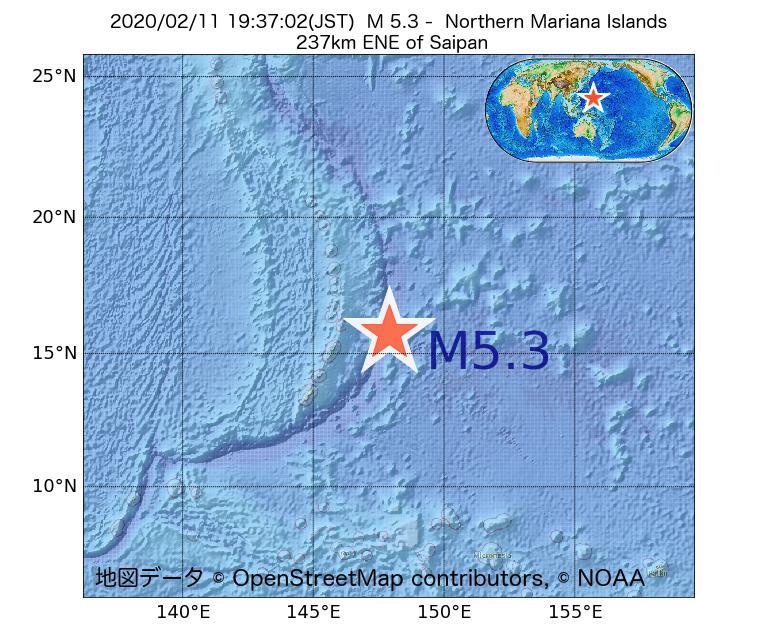 2020年02月11日 19時37分 - 北マリアナ諸島でM5.3
