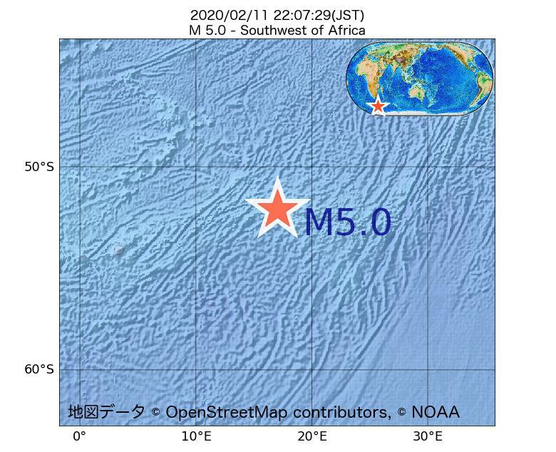 2020年02月11日 22時07分 - アフリカの南西でM5.0