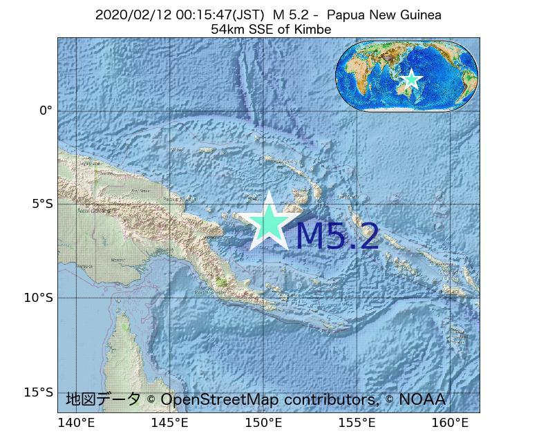 2020年02月12日 00時15分 - パプアニューギニアでM5.2