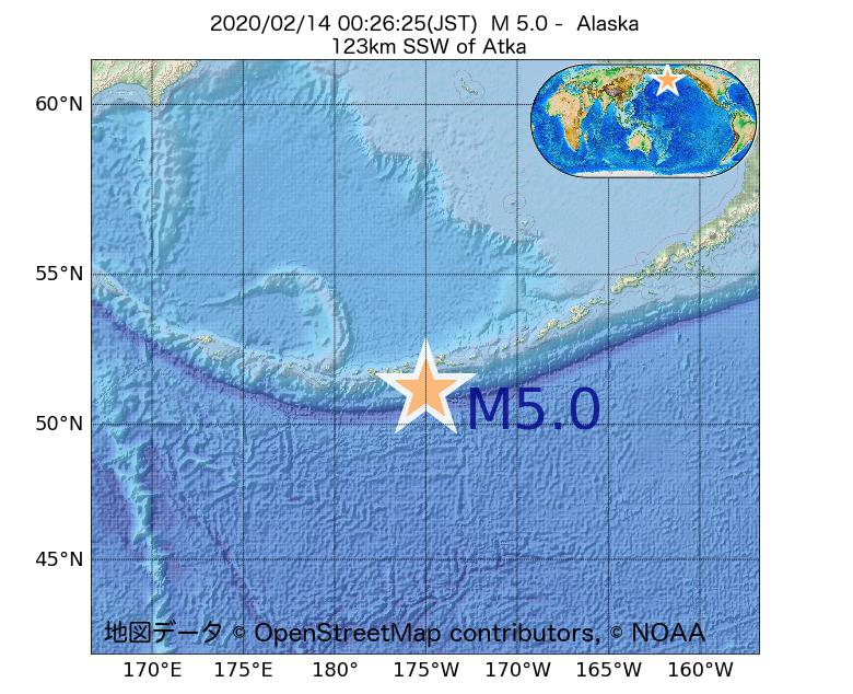 2020年02月14日 00時26分 - アラスカ州でM5.0