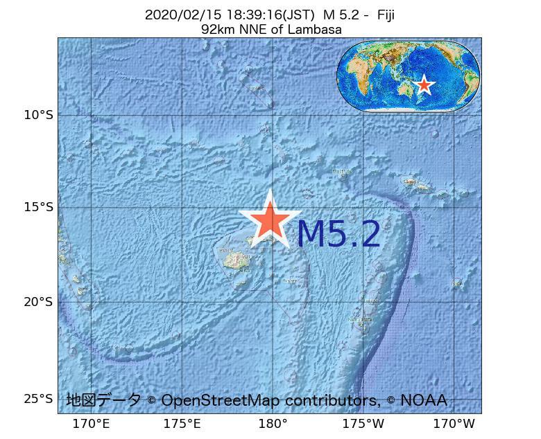 2020年02月15日 18時39分 - フィジーでM5.2