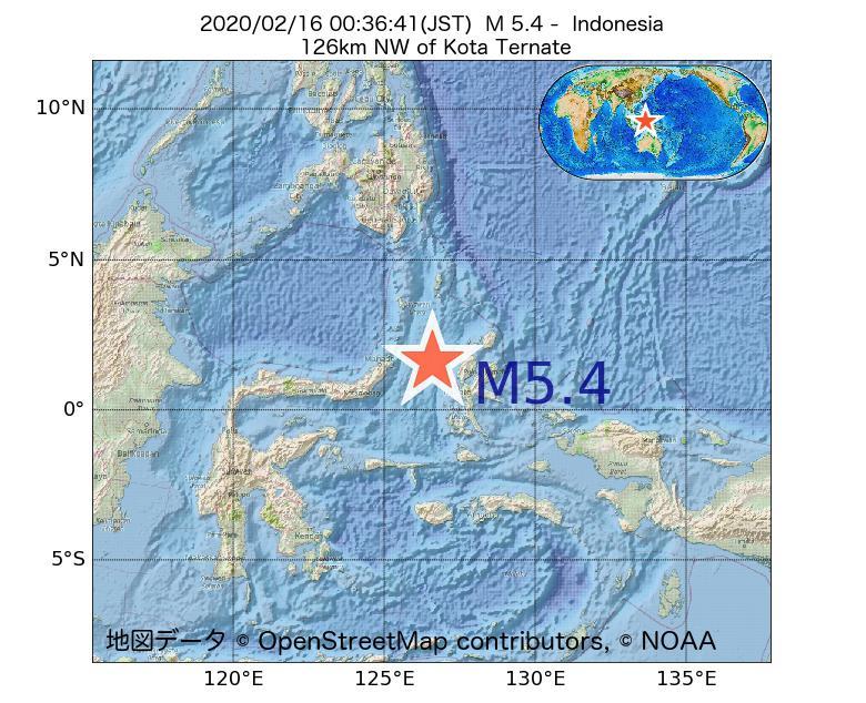 2020年02月16日 00時36分 - インドネシアでM5.4