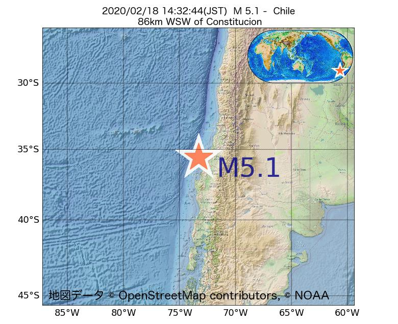 2020年02月18日 14時32分 - チリでM5.1