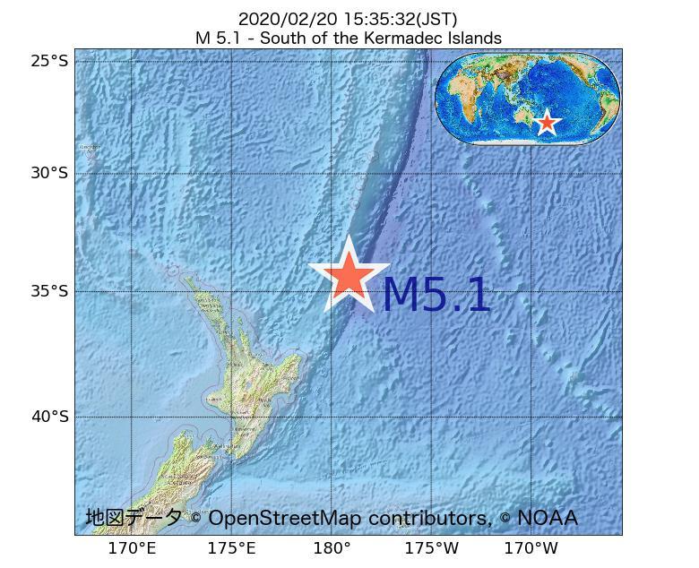 2020年02月20日 15時35分 - ケルマディック諸島の南でM5.1