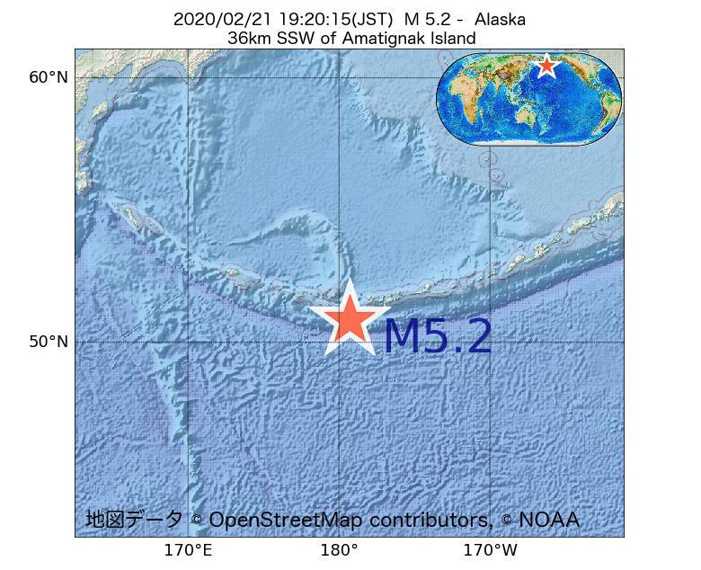 2020年02月21日 19時20分 - アラスカ州でM5.2