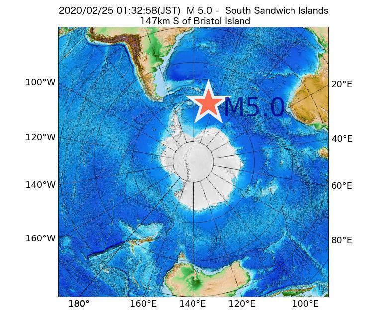 2020年02月25日 01時32分 - サウスサンドウィッチ諸島付近でM5.0