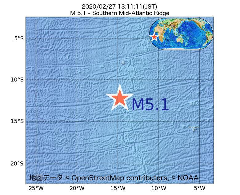 2020年02月27日 13時11分 - 大西洋中央海嶺でM5.1