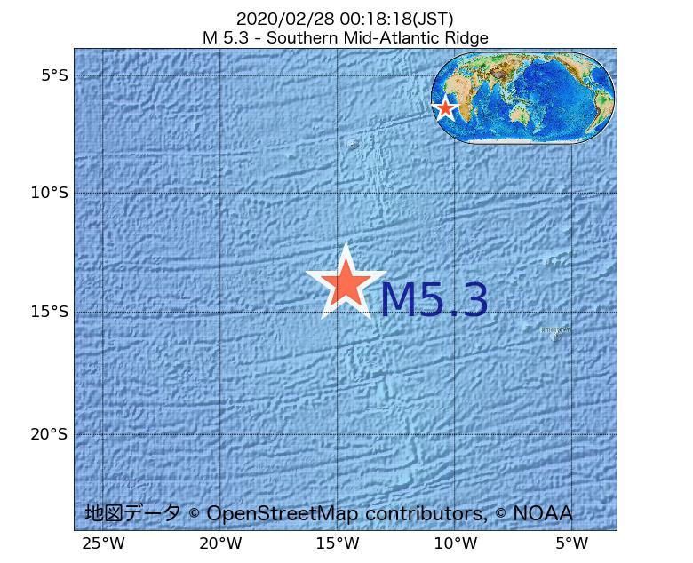 2020年02月28日 00時18分 - 大西洋中央海嶺でM5.3