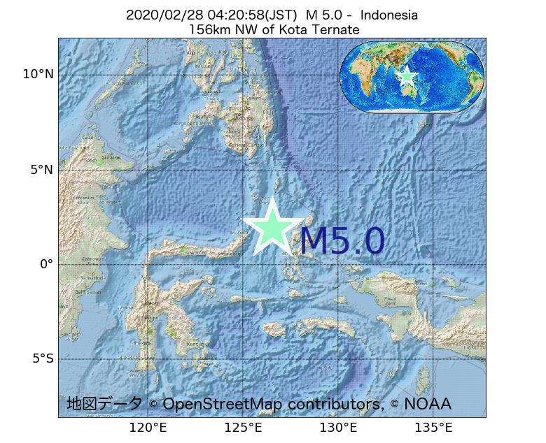 2020年02月28日 04時20分 - インドネシアでM5.0