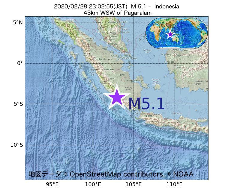 2020年02月28日 23時02分 - インドネシアでM5.1