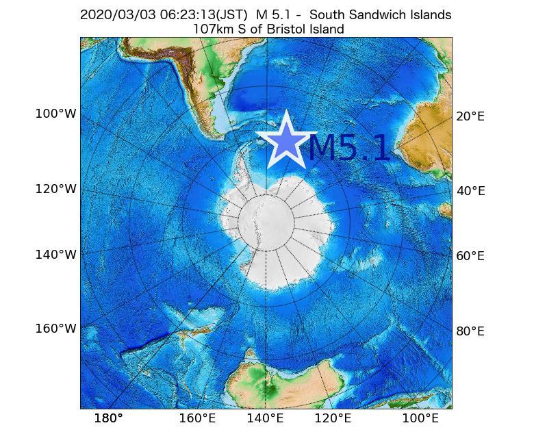 2020年03月03日 06時23分 - サウスサンドウィッチ諸島付近でM5.1