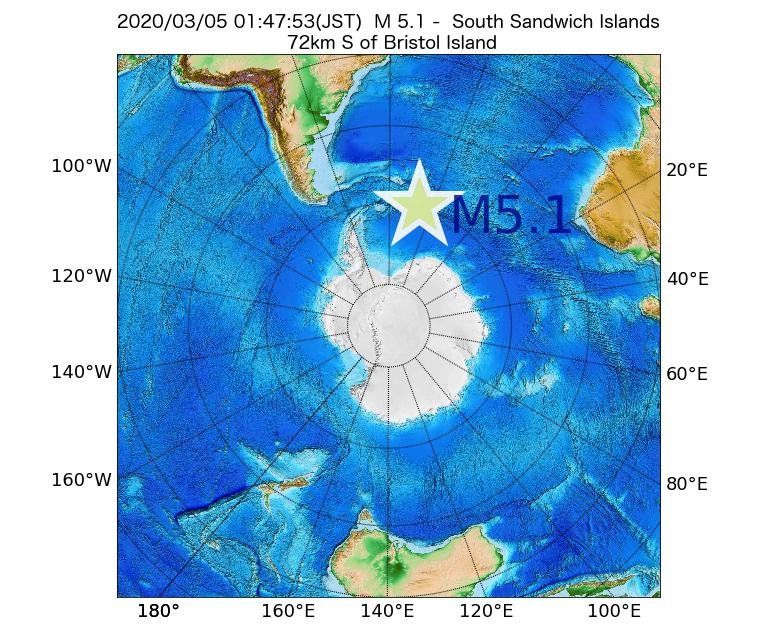 2020年03月05日 01時47分 - サウスサンドウィッチ諸島付近でM5.1