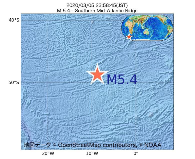 2020年03月05日 23時58分 - 大西洋中央海嶺でM5.4